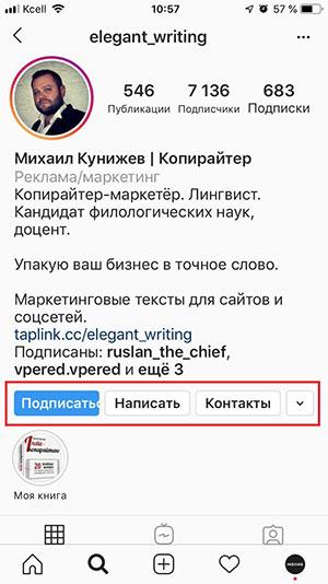 Скриншот профиля инстаграма 1